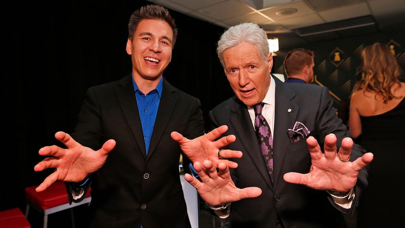 Trebek poses with Holzhauer backstage at the 2019 NHL Awards last night in Las Vegas