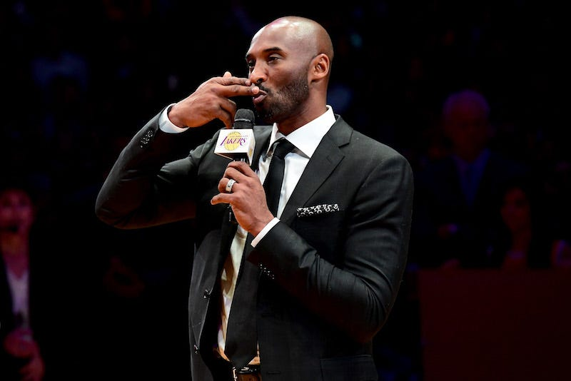 No, this is not a photo of Kobe celebrating as the Eagles won the Super Bowl. Just keep reading. (Harry How/Getty Images)