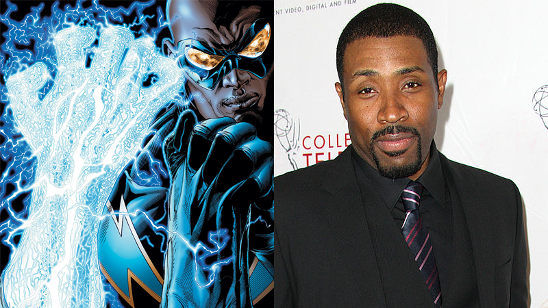 Image: Black Lightning art from Justice League of America Vol 2 #17 by Ethan Van Sciver and Moose Baumann. Cress Williams photographed by Frederick M. Brown / Stringer, via Getty.