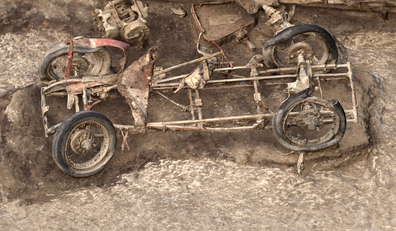 A model of the car's remains. Image: Wessex Archaeology
