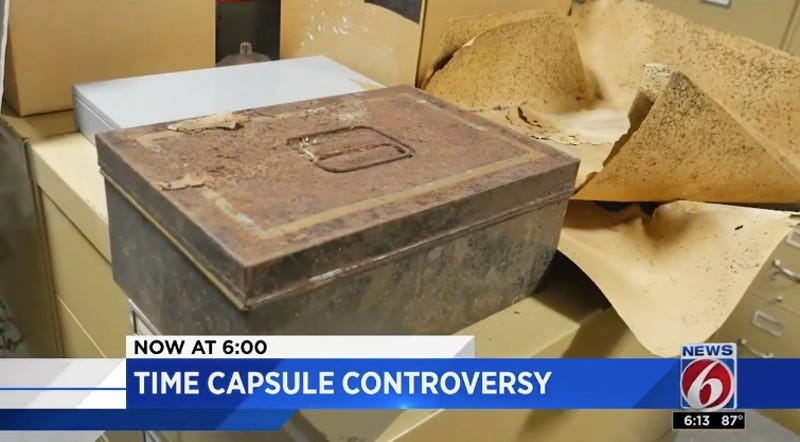 Confederate time capsule currently being fought over between the city of Orlando, Florida and a local chapter of the Daughters of the Confederacy (News 6/Screenshot)