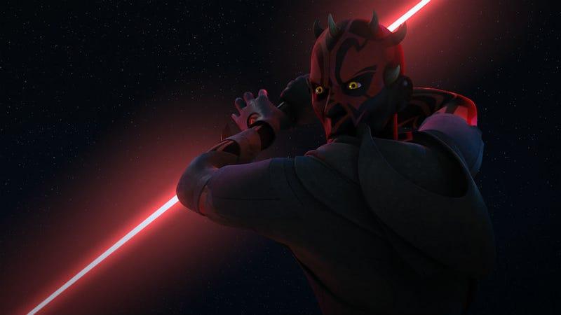 Darth Maul has a big showdown this week on Star Wars Rebels. Image: Disney XD