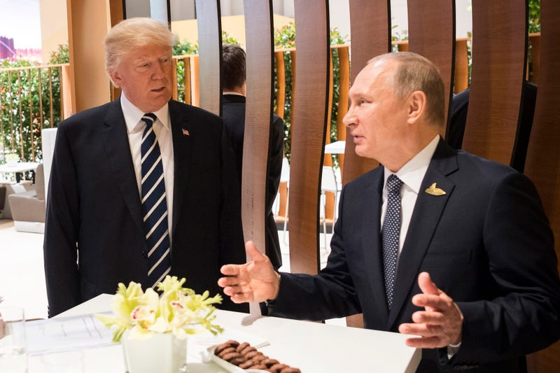 Donald Trump, President of the USA (C) meets Vladimir Putin, President of Russia during the G20 Summit on July 7, 2017 in Hamburg, Germany. The G20 group of nations are meeting July 7-8 and major topics will include climate change and migration.