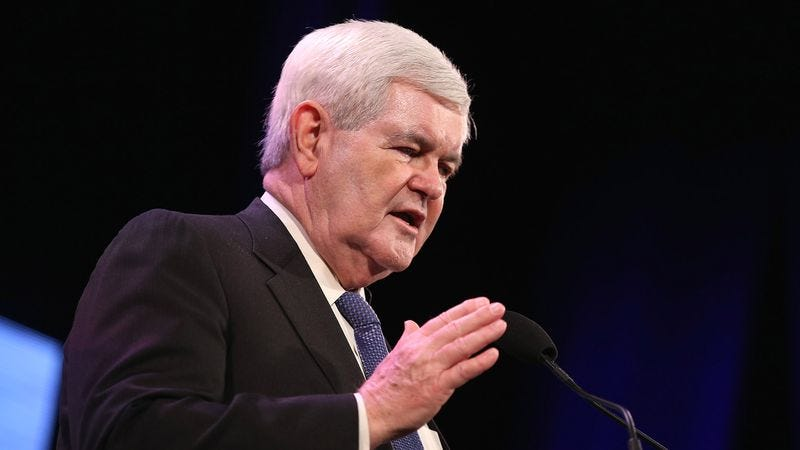 Illustration for article titled Newt Gingrich: 'It's An Honor To Address A Crowd That Shares My Utterly Bizarre And Unhealthy Obsession With Hillary Clinton'