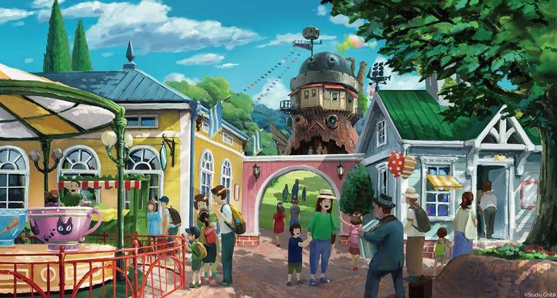 Illustration for article titled Los primeros bocetos del parque temático de Studio Ghibli parecen sacados de un cuento de hadas