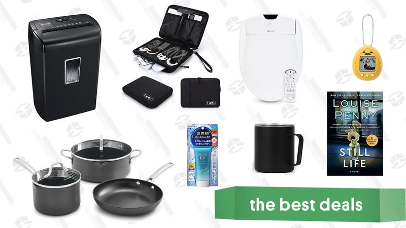 Illustration for article titled Sunday's Best Deals: Bidets, Cable Organizer Bag, Calphalon Cookware, Japanese Sunscreen, and More