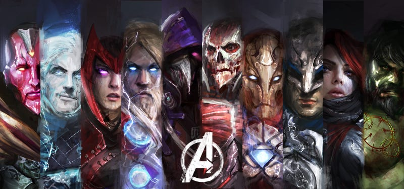 Illustration for article titled The Avengers reimagined as dark fantasy characters is scary great