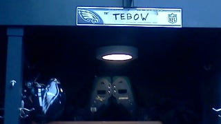 Illustration for article titled Why Does Eagles Backup Quarterback Trent Edwards's Locker Look Like It Belongs To Tim Tebow?