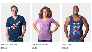 Illustration for article titled Hillary Clinton is Selling Pantsuit Tees and 'Shattered Glass' Tumblers