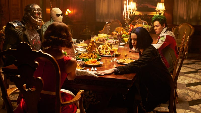 Rachel Roth sitting down to eat with the Doom Patrol.