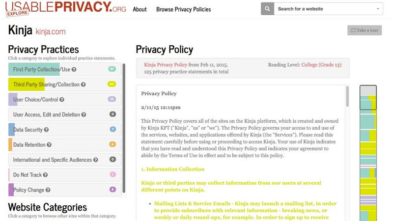 Illustration for article titled Usable Privacy Shows You What Privacy Policies Actually Mean, in Plain English