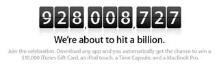 Illustration for article titled Apple Counts Down Up to 1 Billion Apps: Win $10,000 iTunes Gift Card, MacBook Pro and More