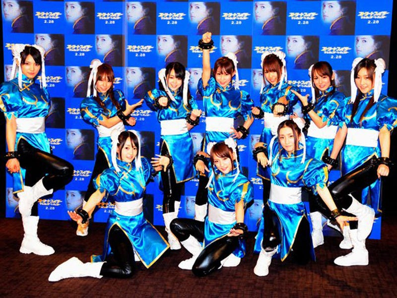 Illustration for article titled Ten Japanese Idols Cosplaying As Chun-Li With PVC Thighs