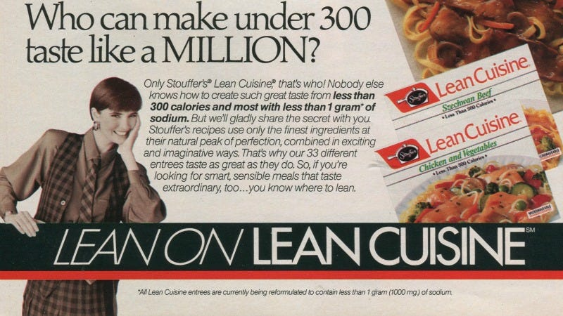 Illustration for article titled Lean Cuisine: The Power Meal for the 1990s Power Suit Wearing Power Woman