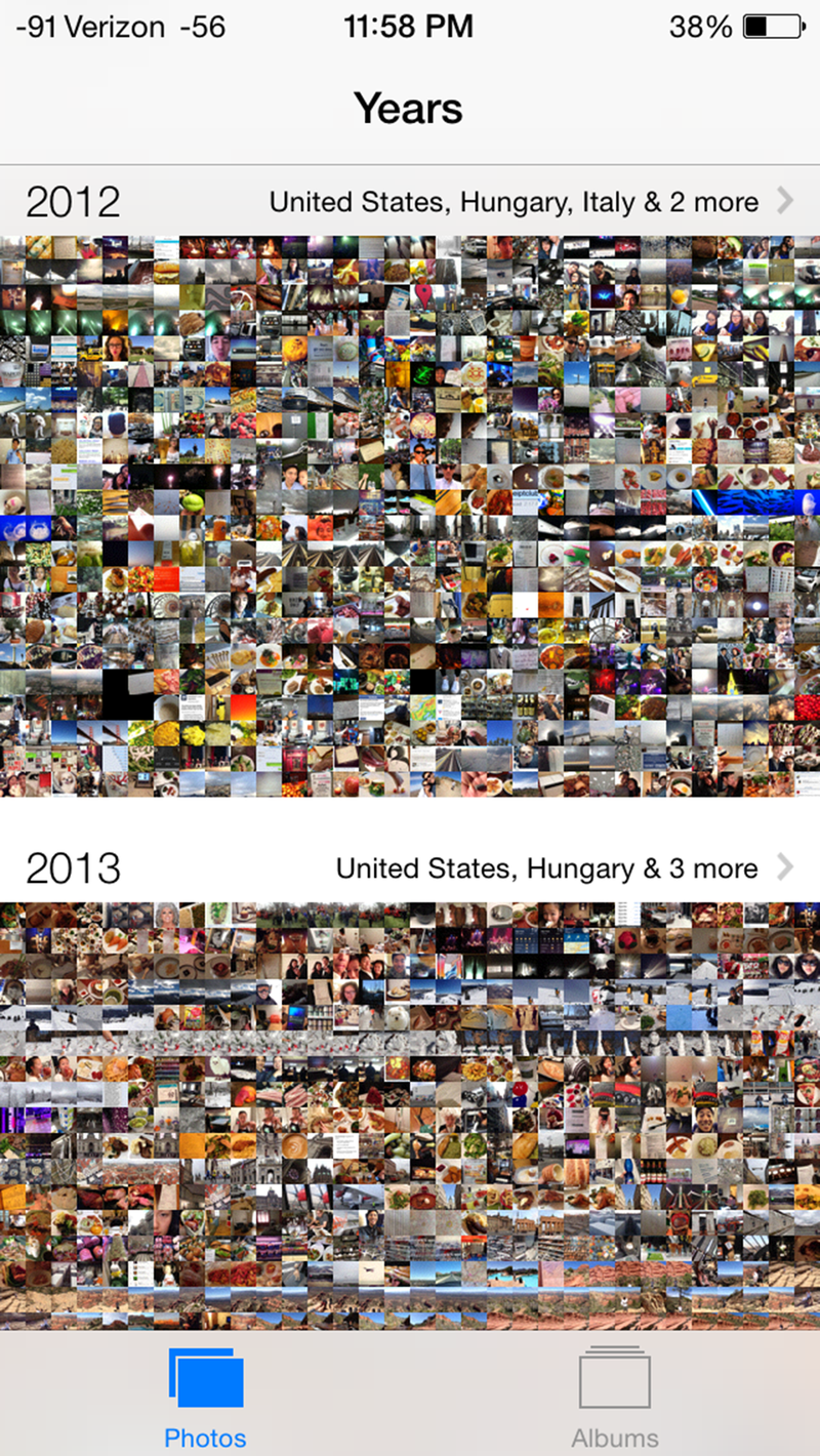Illustration for article titled Looking at iOS 7 photos per year view is like flying in an airplane for the first time.
