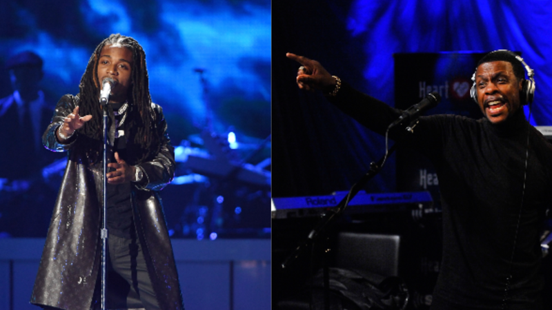 (L-R)Jacquees performs onstage during the 2018 Soul Train Awards, presented by BET on November 17, 2018 in Las Vegas, Nevada. ; Keith Sweat performs on Heart & Soul on March 11, 2016 in Washington, DC.