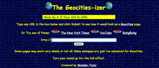 Illustration for article titled Geocities-izer Transports Websites To the Halcyon Days of 1996
