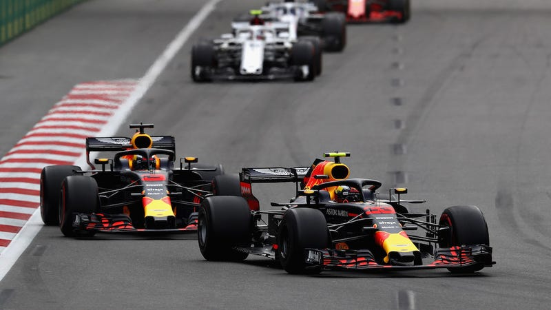 Red Bull teammates Max Verstappen and Daniel Ricciardo at the Azerbaijan Grand Prix.