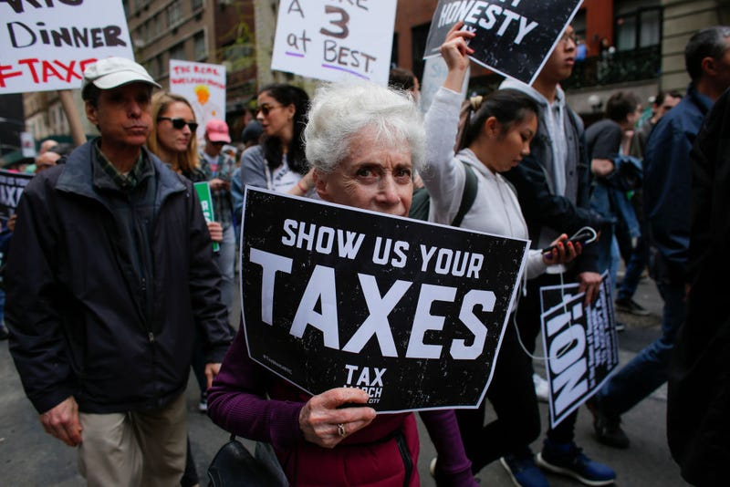 Protesters in New York Cuty call on President Donald Trump to release his tax records April 15, 2017. (Jena Betancur/AFP/Getty Images)