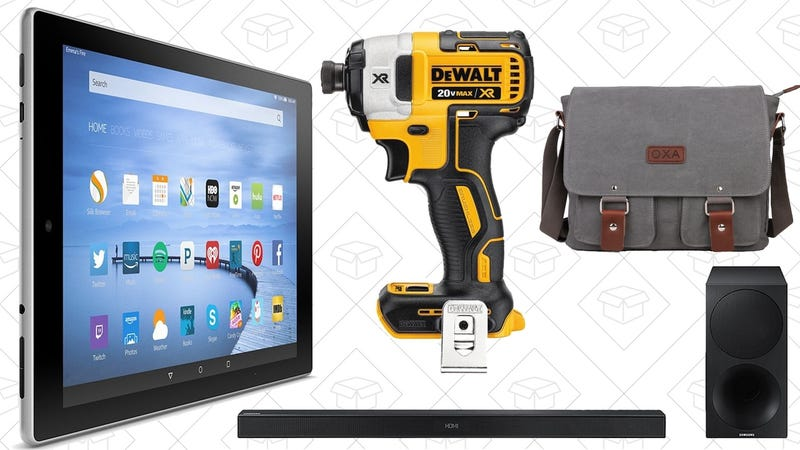 Illustration for article titled Today's Best Deals: Fire HD 10, DEWALT Tools, Samsung Sound Bar, and More