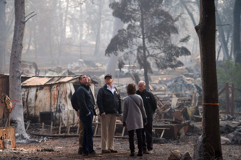 Trump visits Paradise, California, which was devastated by the Camp Fire. He wrongly blamed the fires on forest mismanagement.