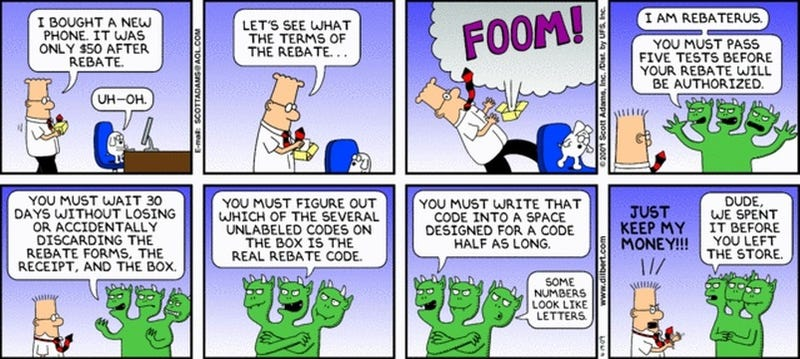 Illustration for article titled Dilbert Takes on Cellphone Rebates In Epic Battle With Rebaterus