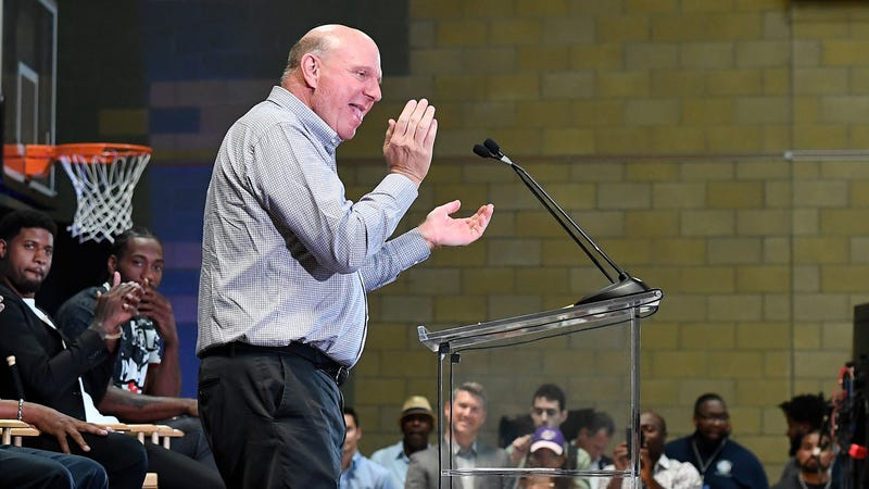 Steve Ballmer Appears To Be In Heat While Introducing Kawhi Leonard And Paul George