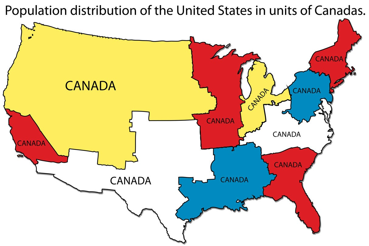 Population distribution of the United States measured in Canadas