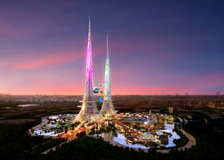 Illustration for article titled The Insane Plan to Build the World's Tallest Towers in a Lake in China