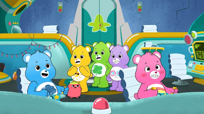 The Care Bears abroad their ship.