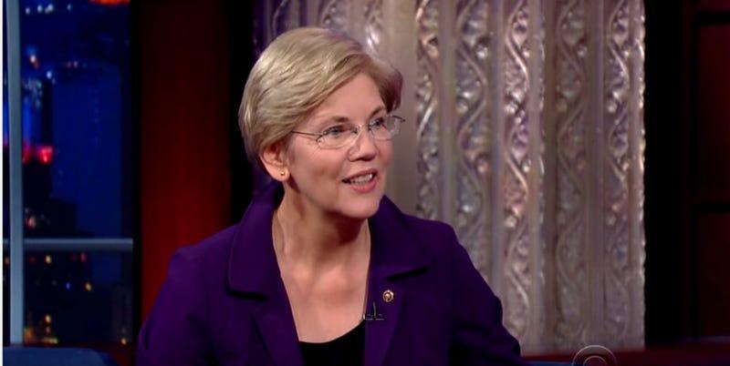 Illustration for article titled Elizabeth Warren Tells Stephen Colbert She's 'Sure' She's Not Running for President