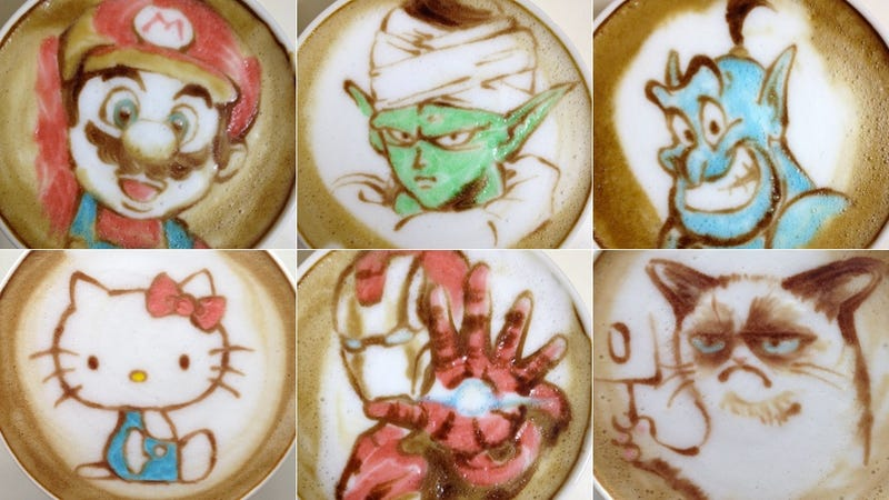 Illustration for article titled Nerdy Cafe Latte Art Is More Amazing in Color