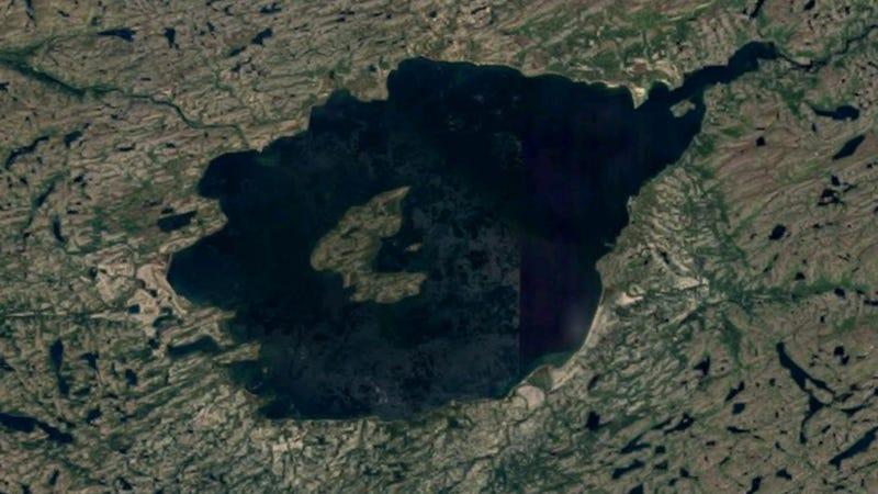 Mistastin Lake, the site of a horrendous asteroid impact some 34 million years ago. (Image: Google Maps)