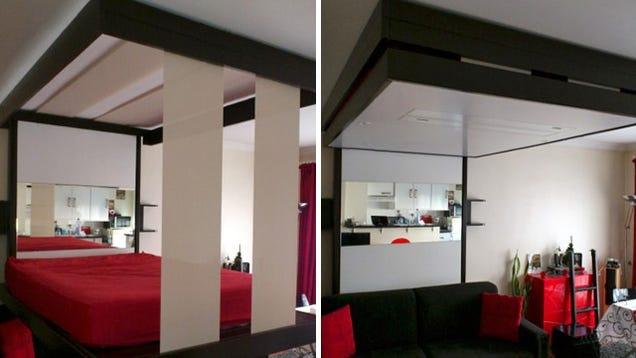 Retractable beds let you hide an entire living room under your mattress - Lit suspendu electrique ...
