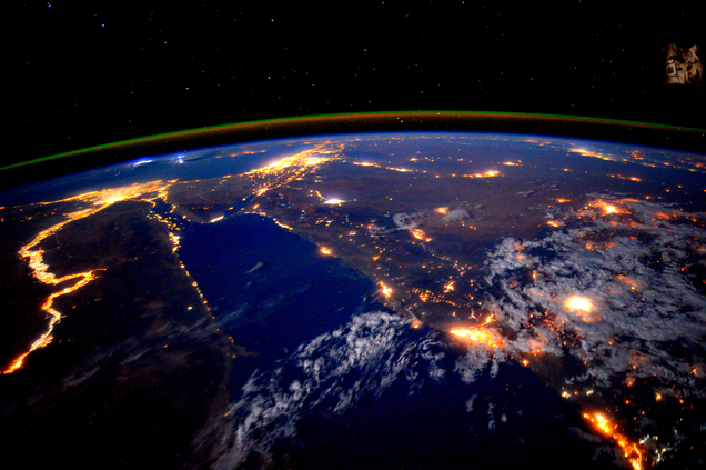 The Nile River is a Glowing River of Light Snaking Across a Darkened Planet