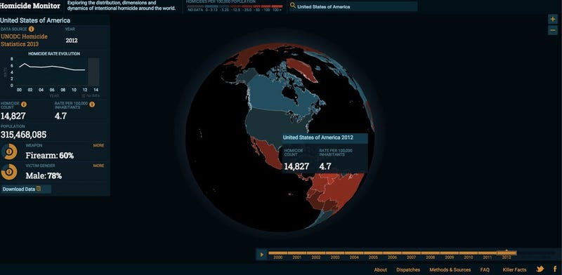 Illustration for article titled An Interactive Map Of Murder Rates Around The World