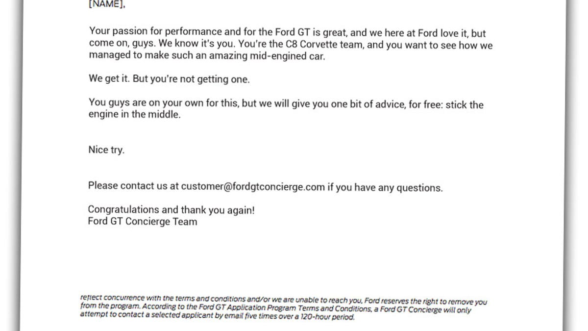 Here are all the letters ford sent people trying to get a ford gt madrichimfo Images