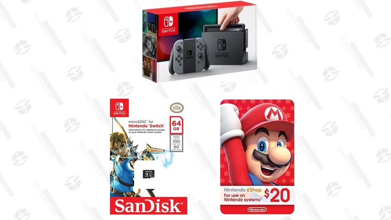 Nintendo Switch + 64GB MicroSD Card + $20 eShop Gift Card | $300 | AmazonNintendo Switch + Game of Your Choice | $322-$329 | Walmart