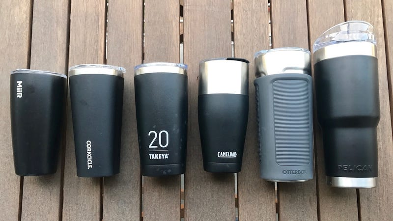 Left to right: MiiR 16, Corkcicle Waterman 16, Takeya 20, Camelbak 20, Otterbox 20, Pelican 22