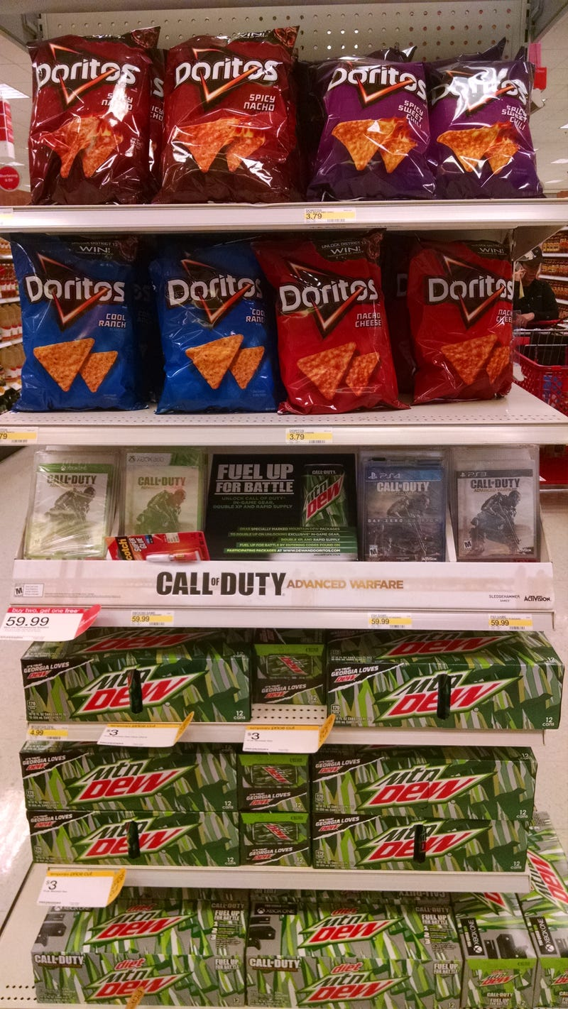 A Target in-store display featuring Doritos and Mountain Dew with Call of Duty branding