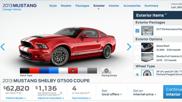 2013 shelby gt500 pricing starts at 54 995. Black Bedroom Furniture Sets. Home Design Ideas
