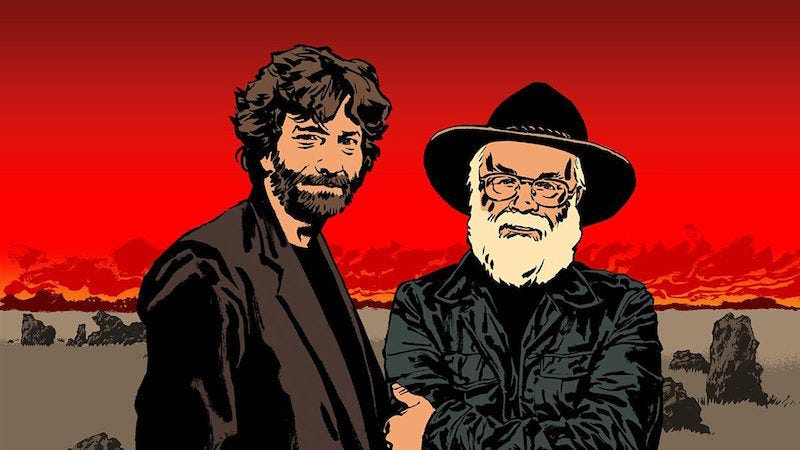 Neil Gaiman and Terry Pratchett.