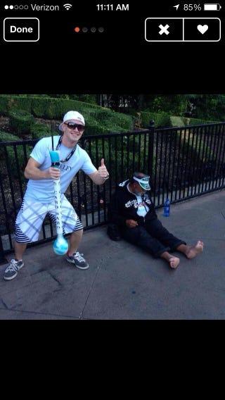 Illustration for article titled Cool homeless guy photo prop, Tinder stranger!