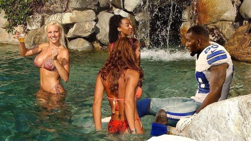 Illustration for article titled Team Of Bikini-Clad Women Tend To Injured Dez Bryant In Cowboys' Rehabilitation Grotto