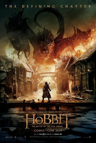 Illustration for article titled Smaug Is So Pissed On The First Hobbit: Battle Of Five Armies Poster