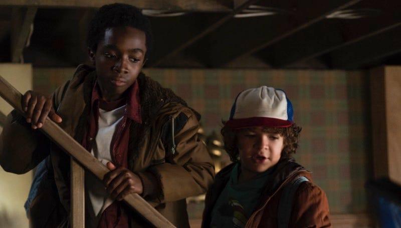Caleb McLaughlin and Gaten Matarazzo in Stranger Things. image: Curtis Baker/Netflix