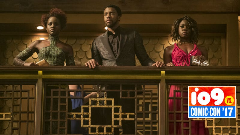 Nakia, Okoye and T'Challa enter a casino in Black Panther. Image: Disney