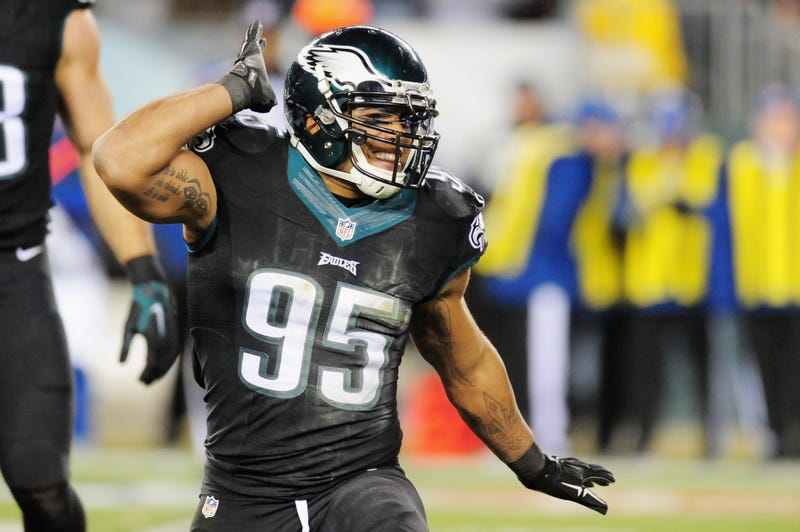 Mychal Kendricks of the Philadelphia Eagles reacts against the Seattle Seahawks in the first half of the game at Lincoln Financial Field on December 7, 2014 in Philadelphia, Pennsylvania.