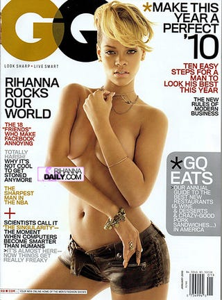 Illustration for article titled Rihanna Goes Topless For GQ's January 2010 Issue