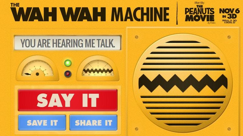 "Illustration for article titled Translate phrases to Peanuts' ""teacher talk"" with the Wah Wah Machine"